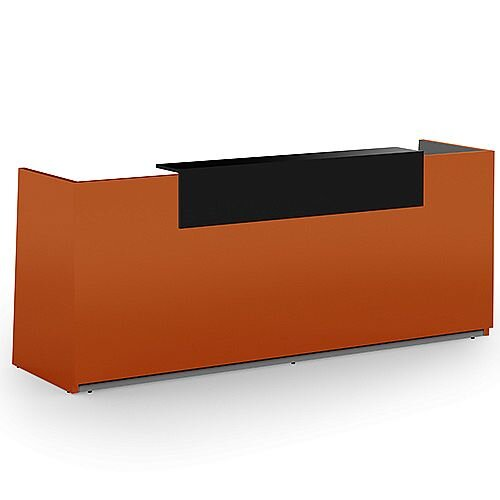 Libra Premium Minimalist Design Orange Acrylux Gloss Panel Reception Desk With Black Counter Top Panel W2600xD850xH1060mm