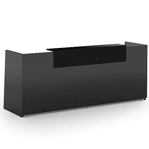 Libra Premium Minimalist Design Dark Grey Acrylux Gloss Panel Reception Desk With Black Counter Top Panel W2600xD850xH1060mm
