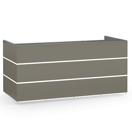 Pearl Modern Design Grey Acrylux  Reception Desk with Anthracite Glass Counter Top W2400xD1050xH1120