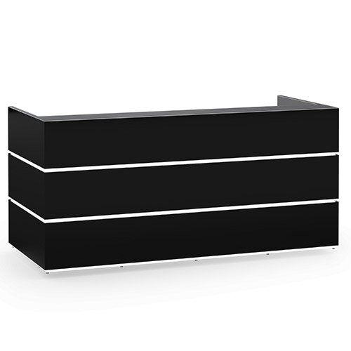 Pearl Modern Design Black Acrylux  Reception Desk with Anthracite Glass Counter Top W2400xD1050xH1120