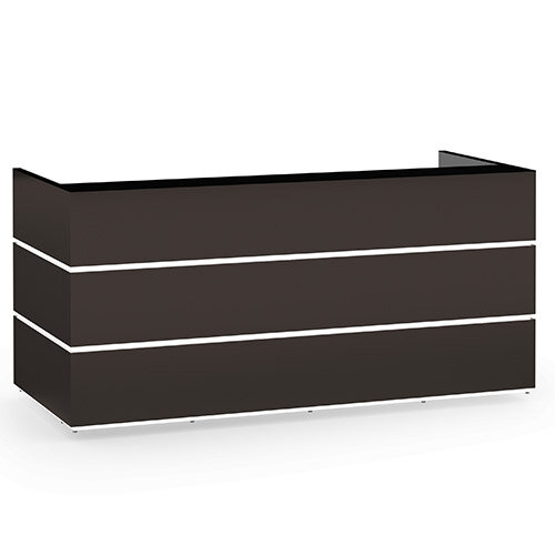 Pearl Modern Design Dark Brown Acrylux  Reception Desk with Black Glass Counter Top W2400xD1050xH1120