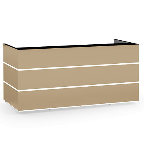 Pearl Modern Design Cappuccino Acrylux  Reception Desk with Black Glass Counter Top W2400xD1050xH1120