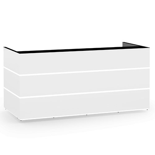 Pearl Modern Design Icy White Acrylux  Reception Desk with Black Glass Counter Top W2400xD1050xH1120