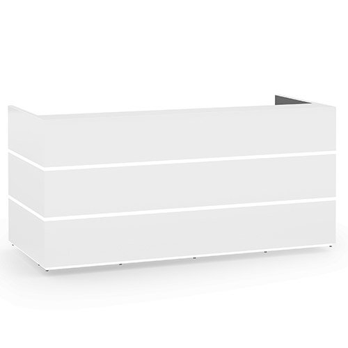 Pearl Modern Design Icy White Acrylux  Reception Desk with White Glass Counter Top W2400xD1050xH1120