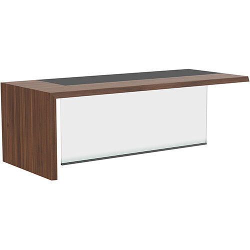 Soreno American Walnut Executive Left Hand Office Desk with Transparent Tempered Glass Leg W2210mm