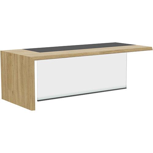 Soreno Natural Oak Executive Left Hand Office Desk with Transparent Tempered Glass Leg W2210mm
