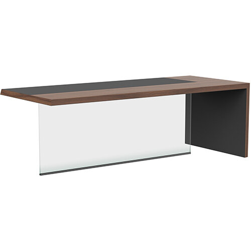 Soreno American Walnut Executive Right Hand Office Desk with Transparent Tempered Glass Leg W2210mm