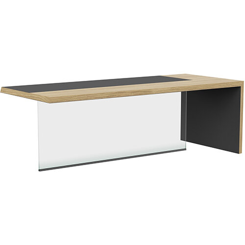 Soreno Natural Oak Executive Right Hand Office Desk with Transparent Tempered Glass Leg W2210mm