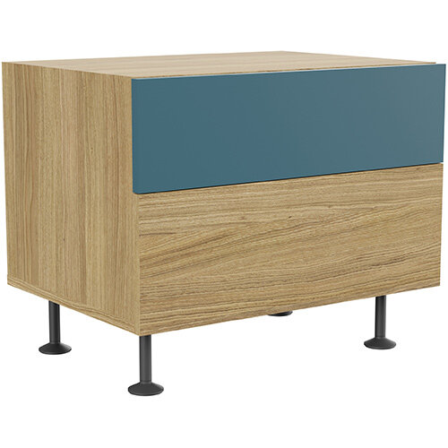 Soreno 2 Drawer Pedestal Natural Oak with Azure Blue Drawers
