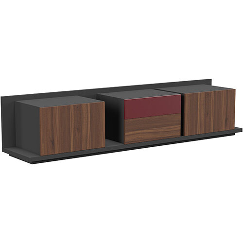 Soreno Closed Storage Set of 3 Chests American Walnut with Wine Red Drawer