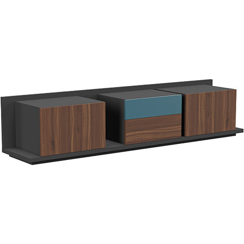 Soreno Closed Storage Set of 3 Chests American Walnut with Azure Blue Drawer