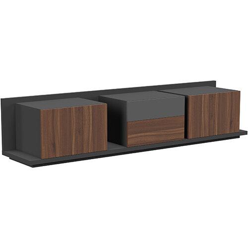 Soreno Closed Storage Set of 3 Chests American Walnut with Black Grey Drawer