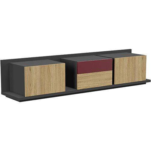 Soreno Closed Storage Set of 3 Chests Natural Oak with Wine Red Drawer