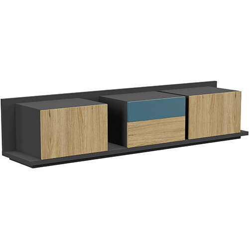 Soreno Closed Storage Set of 3 Chests Natural Oak with Azure Blue Drawer