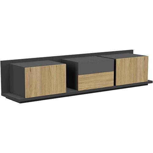 Soreno Closed Storage Set of 3 Chests Natural Oak with Black Grey Drawer