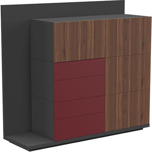 Soreno Storage System American Walnut with Wine Red Drawers