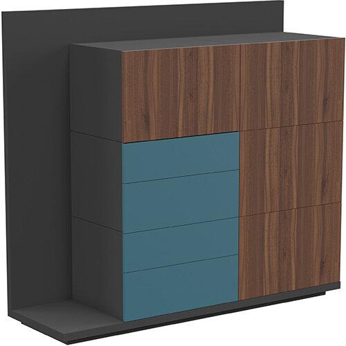 Soreno Storage System American Walnut with Azure Blue Drawers