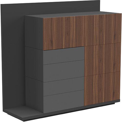 Soreno Storage System American Walnut with Black Grey Drawers