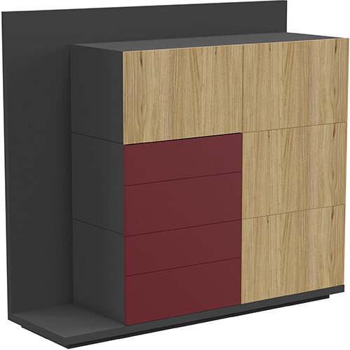 Soreno Storage System Natural Oak with Wine Red Drawers