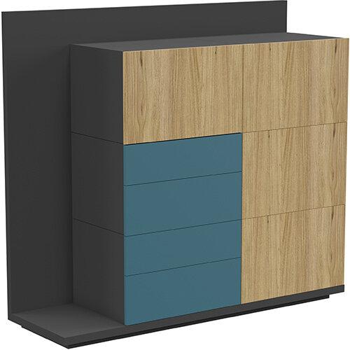 Soreno Storage System Natural Oak with Azure Blue Drawers