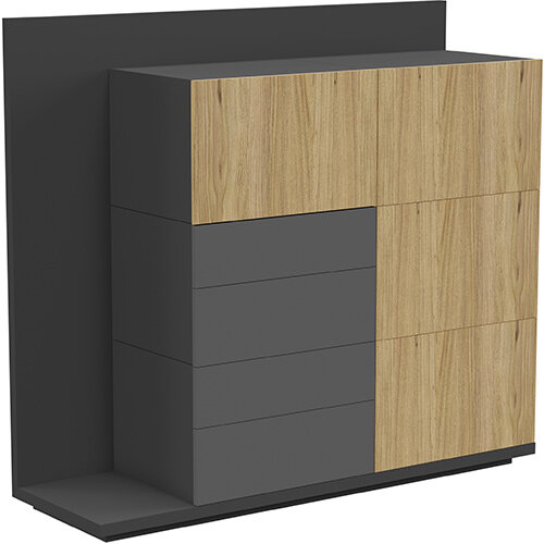 Soreno Storage System Natural Oak with Black Grey Drawers