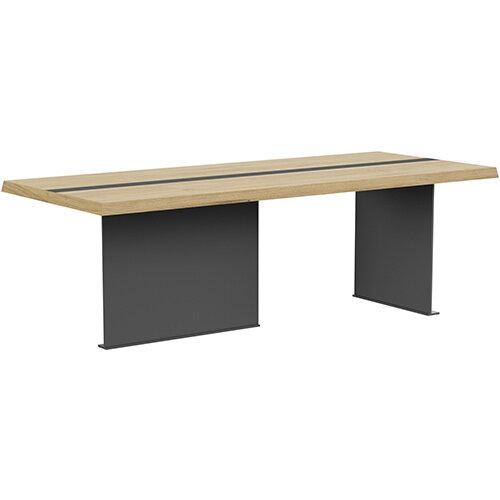 Soreno 2210mm Rectangular Boardroom &Meeting Table Natural Oak with Metal Base