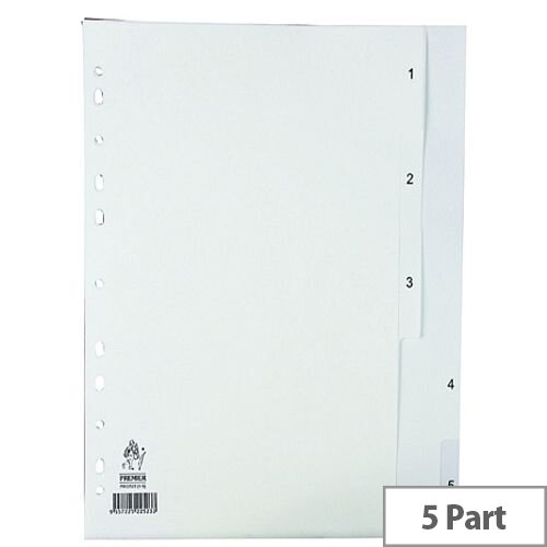 Index A4 1-5 Part Polypropylene White Subject Dividers WX01352