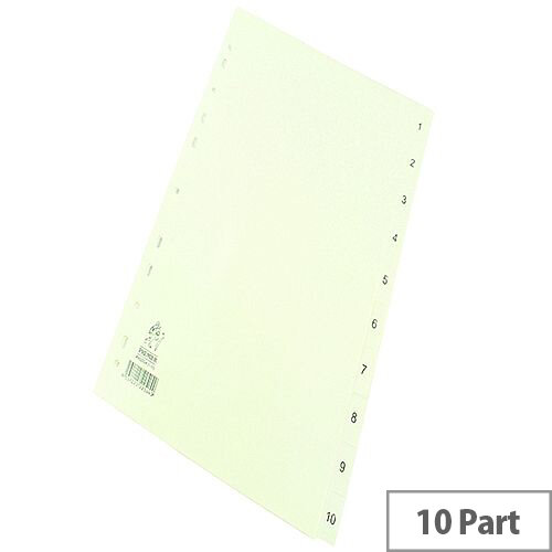 Index A4 1-10 Part Polypropylene White Subject Dividers WX01353