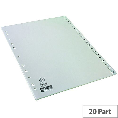 Index A4 1-20 Part Polypropylene White Subject Dividers WX01356