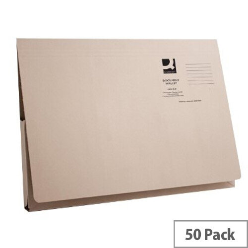 Q- Connect Document Wallet 220gsm Foolscap Buff  Pack of 50 WX23010A