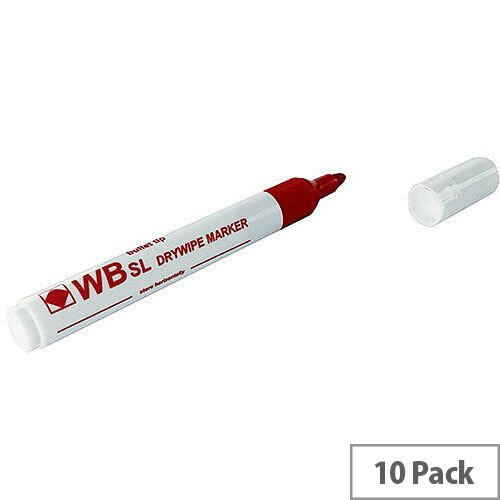 Whiteboard Marker Chisel Tip Red 10 Pack WX26037