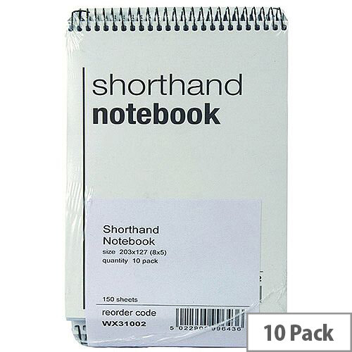 Spiral Shorthand Notebook 150 Leaf 10 Pack