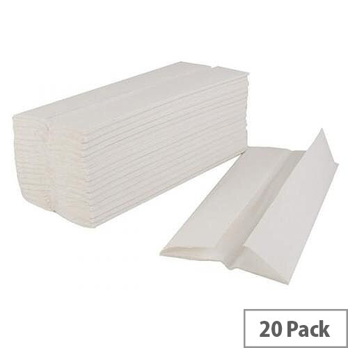 Whitebox 2 Ply White C-Fold Paper Hand Towels 120 Towels Per Sleeve 20 Sleeves (2400 Sheets) WX43095