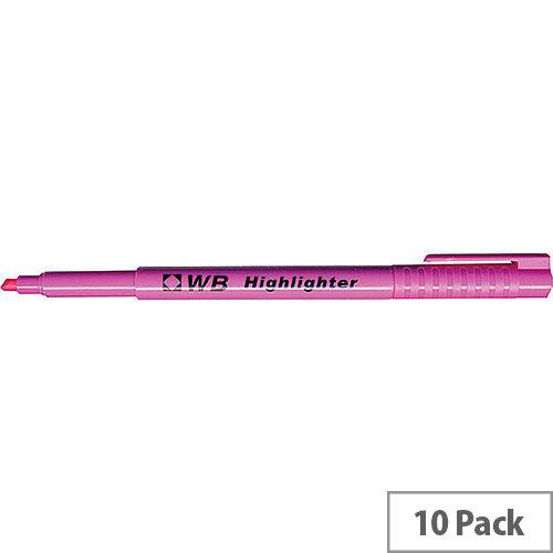 Slimline Highlighter Pens Pink Pack 10 WX93204