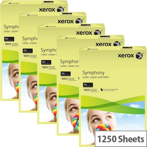 Xerox Symphony Pastel Yellow A4 Card Paper 160gsm Pack of 1250 Sheets
