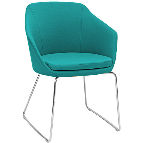 Frovi YAK  Armchair With Chrome Sled Base H830xW620xD600mm 480mm Seat Height - Fabric Band A