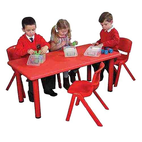 Polyethylene Preschool Table Rectangular Red 120x60 52cm High YAY001