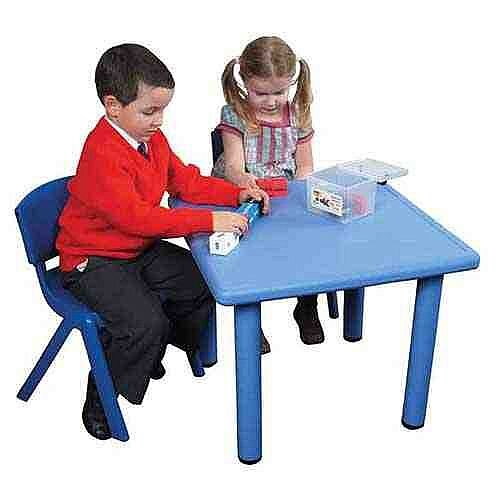 Square Lightweight Plastic Preschool Table Blue 62x62x52cm Height