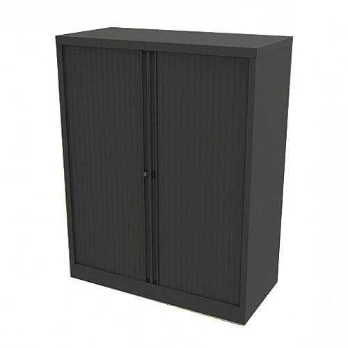 Bisley Side Opening Tambour Door Cupboard H1270xW1000xD470mm Black - Supplied Empty, Variety of Shelves &Suspension Filing Roll Out Frames Available