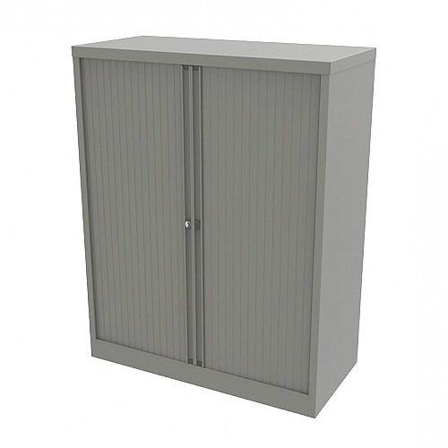 Bisley Side Opening Tambour Door Cupboard H1270xW1000xD470mm Goose Grey - Supplied Empty, Variety of Shelves &Suspension Filing Roll Out Frames Available