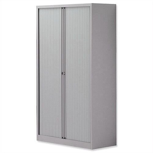 Bisley Side Opening Tambour Door Cupboard H1570xW1000xD470mm Silver - Supplied Empty, Variety of Shelves &Suspension Filing Roll Out Frames Available