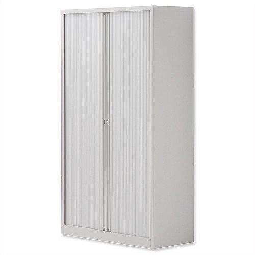 Bisley Side Opening Tambour Door Cupboard H1570xW1000xD470mm White - Supplied Empty, Variety of Shelves &Suspension Filing Roll Out Frames Available