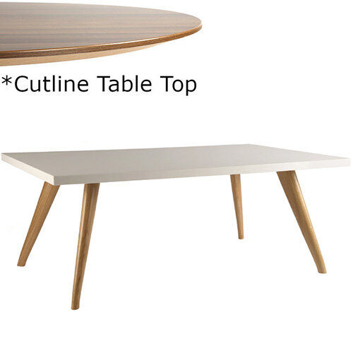 Frovi YAK  Rectangular Coffee Table With Natural Oak Frame &Cutline Top W1000xD600xH390mm - Thin-Cut Appearance Laminated Surface For Heavy-Use Areas