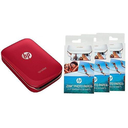 HP Sprocket Red Photo Colour Printer & Photo Paper Bundle