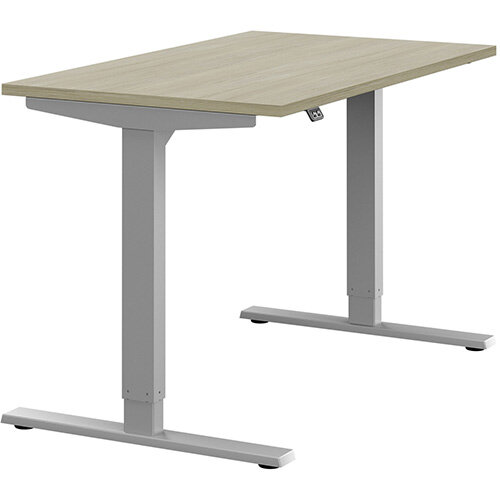 Zoom Height Adjustable Sit Stand Office Desk Plain Top W1200mmxD700mmxH685-1185mm Arctic Oak Top Silver Frame - Prevents &Reduces Muscle &Back Problems, Poor Circulation &Increases Brain Activity.