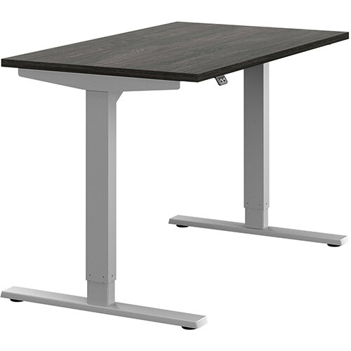 Zoom Height Adjustable Sit Stand Office Desk Plain Top W1200mmxD700mmxH685-1185mm Carbon Walnut Top Silver Frame - Prevents &Reduces Muscle &Back Problems, Poor Circulation &Increases Brain Activity.