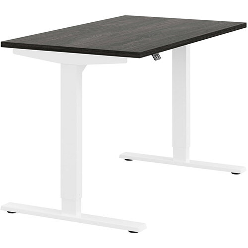 Zoom Height Adjustable Sit Stand Office Desk Plain Top W1200mmxD700mmxH685-1185mm Carbon Walnut Top White Frame - Prevents &Reduces Muscle &Back Problems, Poor Circulation &Increases Brain Activity.