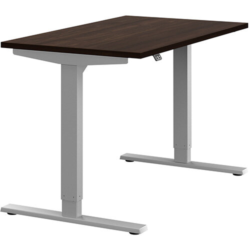 Zoom Height Adjustable Sit Stand Office Desk Plain Top W1200mmxD700mmxH685-1185mm Dark Walnut Top Silver Frame - Prevents &Reduces Muscle &Back Problems, Poor Circulation &Increases Brain Activity.