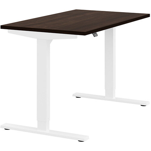 Zoom Height Adjustable Sit Stand Office Desk Plain Top W1200mmxD700mmxH685-1185mm Dark Walnut Top White Frame - Prevents &Reduces Muscle &Back Problems, Poor Circulation &Increases Brain Activity.