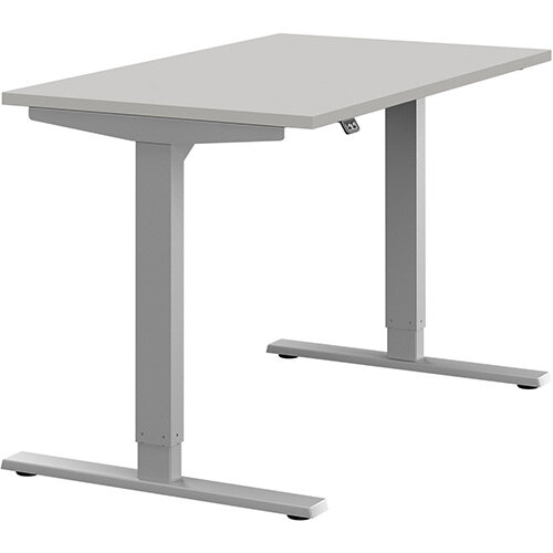 Zoom Height Adjustable Sit Stand Office Desk Plain Top W1200mmxD700mmxH685-1185mm Grey Top Silver Frame - Prevents &Reduces Muscle &Back Problems, Poor Circulation &Increases Brain Activity.